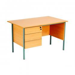Cheap Stationery Supply of Serrion Rectangular 3 Drawer Pedestal Desk 1200x750x730mm Beech KF838373 Office Statationery