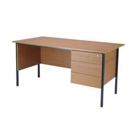 Serrion Bavarian Beech 1500mm Four Leg Desk with Three Drawer Pedestal KF838377
