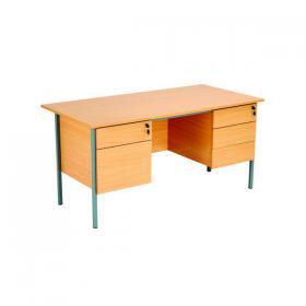 Serrion Double Pedestal 4 Leg Desk 1500x750x730mm Bavarian Beech KF838379