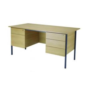 Serrion Ferrera Oak 1500mm Four Leg Desk with Double Pedestal KF838380