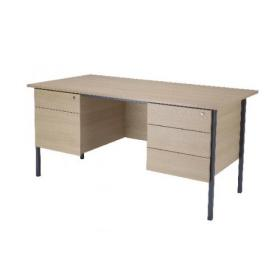 Serrion 1500mm 4 Leg Desk Double Pedestal Warm Maple KF838538
