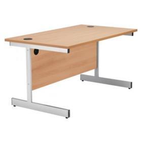 Jemini Beech/Silver 1400mm Rectangular Cantilever Desk KF838782