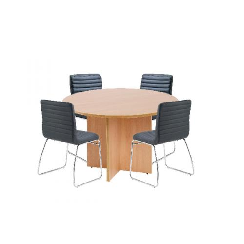 First Beech 1200mm Diameter Round Meeting Table With Dart Kf839233