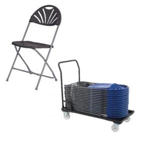 Jemini Exam Chair Charcoal (Pack of 40) and Trolley Promotion KF839289