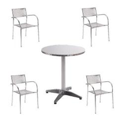 Cheap Stationery Supply of Arista Aluminium Bistro Table and Chairs Bundle KF839474 Office Statationery