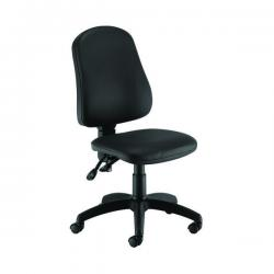 Cheap Stationery Supply of First Calypso Operator Chair 640x640x985-1175mm 2 Lever Leather Look Black KF90959 Office Statationery