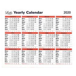 Cheap Stationery Supply of Letts Yearly Calendar 2020 (210 x 260mm, Freestanding or wall hanging) 20-TYC Office Statationery