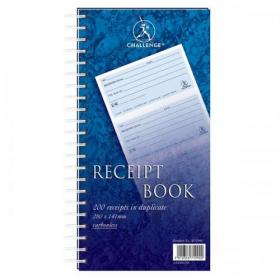 Challenge Duplicate Book Carbonless Receipt Book Wirebound 4 Sets a Page 200 Sets 280x141mm Ref 100080056