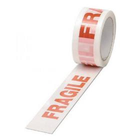 Polypropylene Tape Printed Fragile 50mmx66m White Red (Pack of 6) PPP-C