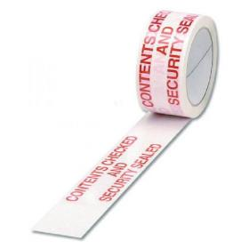 Polypropylene Tape Printed Contents Checked 50mmx66m (Pack of 6)White Red PPPS-SECURITY
