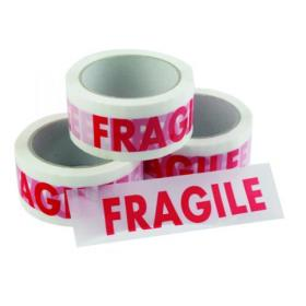 Vinyl Tape Printed Fragile 50mmx66m White Red (Pack of 6) PPVC-FRAGILE