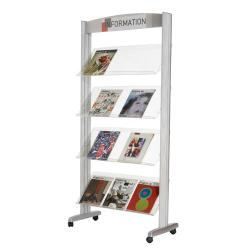 Cheap Stationery Supply of Fast Paper 1-Sided Mobile Literature Display with 4 Plastic Shelves Silver 257TT.35 Office Statationery