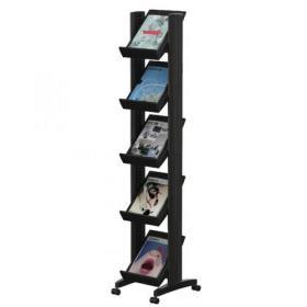 Fast Paper 5 Shelf Mobile Literature Display Narrow Black F259N01