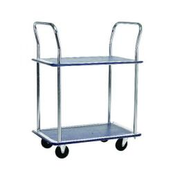 Cheap Stationery Supply of Barton Silver and Blue 2 Shelf Trolley With Chrome Handles PST2 Office Statationery