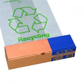 Acorn Bin Printed Recycling Bin Liner Clear Green (Pack of 50) 402573
