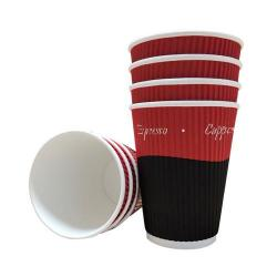 Cheap Stationery Supply of 12oz Belgravia Triple Walled Red Tea & Coffee Ripple Cups Office Statationery