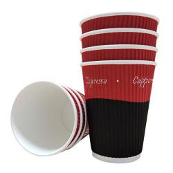Cheap Stationery Supply of 16oz Belgravia Triple Walled Red Tea & Coffee Ripple Cups Office Statationery