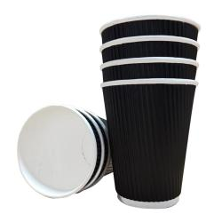 Cheap Stationery Supply of 16oz Belgravia Triple Walled Black Ripple Paper Cups Office Statationery