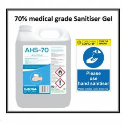 Cheap Stationery Supply of AHS Alcohol Hand Sanitiser Gel 5 Litre 70 Medical Grade Office Statationery