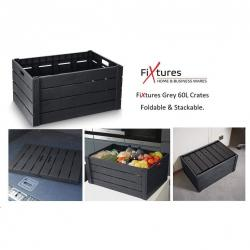 Cheap Stationery Supply of Strata Grey Wood Effect Folding Crate 60 Litre Office Statationery
