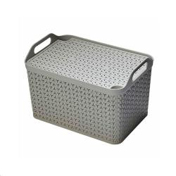 Cheap Stationery Supply of Strata Cool Grey Medium Handy Basket With Lid Office Statationery