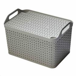 Cheap Stationery Supply of Strata Cool Grey Large 21L Handy Basket With Lid Office Statationery