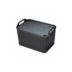 Cheap Stationery Supply of Strata Charcoal Grey Small Handy Basket With Lid Office Statationery