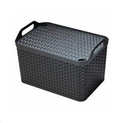 Cheap Stationery Supply of Strata Charcoal Grey Medium Handy Basket With Lid Office Statationery