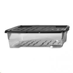 Cheap Stationery Supply of Strata Curve Clear Plastic Storage Box UBed 30 Litre Black Lid Office Statationery