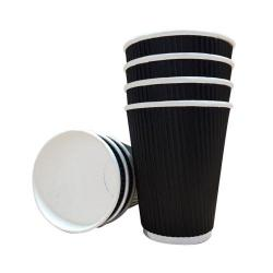 Cheap Stationery Supply of 12oz Belgravia Triple Walled Black Ripple Paper Cups Office Statationery