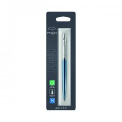 Cheap Stationery Supply of Parker Jotter Waterloo Blue Chrome Trim Ballpoint Pen Hangsell 1953245 Office Statationery