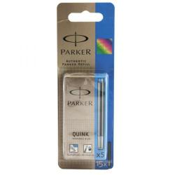 Cheap Stationery Supply of Parker Quink Ink Cartridge Blister Pack of 15 Blue Washable S0881430 S0881430 Office Statationery