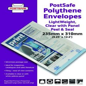 Ampac Envelope 235x310mm Lightweight Polythene Clear With Panel (Pack of 100) KSV-LCP2