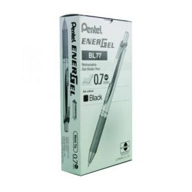 Pentel EnerGel Xm Retractable Gel Pen Medium Black (Pack of 12) BL77-A