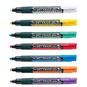 Pentel Liquid Chalk Marker Chisel Tip Assorted (Pack of 7) SMW26/7
