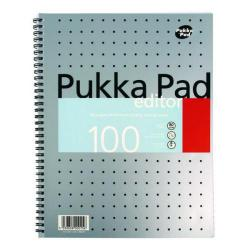 Cheap Stationery Supply of Pukka Pad Ruled Metallic Wirebound Editor Notepad 100 Pages A4 (Pack of 3) EM003 Office Statationery