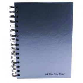 Pukka Pad Silver Ruled Wirebound Notebook 160 Pages A5 (Pack of 5) WRULA5