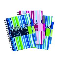 Cheap Stationery Supply of Pukka Pad Stripes Polypropylene Project Book 250 Pages A5 Blue/Pink (Pack of 3) PROBA5 Office Statationery