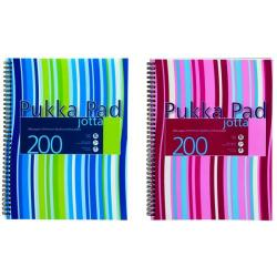 Cheap Stationery Supply of Pukka Pad Stripes Polypropylene Wirebound Jotta Notebook 200 Pages A4 Blue/Pink (Pack of 3) JP018 Office Statationery