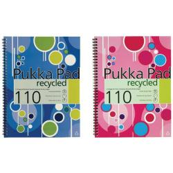 Cheap Stationery Supply of Pukka Fashion Recycled Notebook Wirebound A4 Feint Ruled with Margin 110 Pages Assorted KRCA4/110 Office Statationery