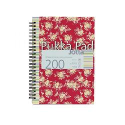 Cheap Stationery Supply of Pukka Jotta A4 Notebook 4 Hole Punched Feint Ruled with Margin Red Floral Design 7288-FST Office Statationery