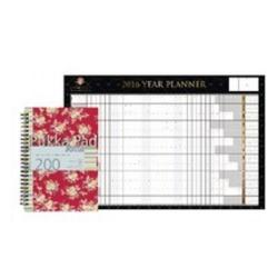 Cheap Stationery Supply of Pukka Red Floral Jotta Notebook A5 Pack of 3 with Free Concord Noir Wall Planner PP816928 Office Statationery