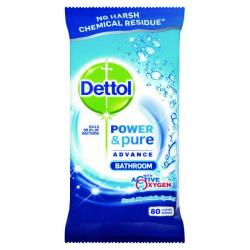 Cheap Stationery Supply of Dettol Power&Pure Advance Bathroom Wipes 80 Sheets (Pack of 4) RB782880 Office Statationery