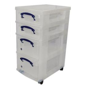 Really Useful Mobile Storage Unit With Removable Boxes Clear St2X9+4X9C