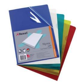Rexel Nyrex Cut Flush Folder A4 Assorted (Pack of 25) 12161AS