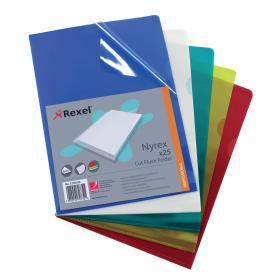 Rexel Nyrex Cut Flush Folders A4 Assorted (Pack of 25) 12161AS