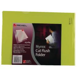 Cheap Stationery Supply of Rexel Nyrex Cut Flush Folder A4 Yellow (Pack of 25) 12161YE Office Statationery
