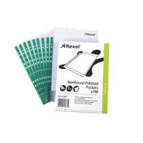 Rexel Pockets Reinforced Polypropylene Clear(Pack of 100)CKP/A4  12265