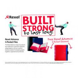 Cheap Stationery Supply of Rexel Advance A4 4 Pocket Project File Black with Free of Charge Dividers RX810127 Office Statationery
