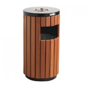 Outdoor Litter Bin Wood Effect 33 Litre 316874